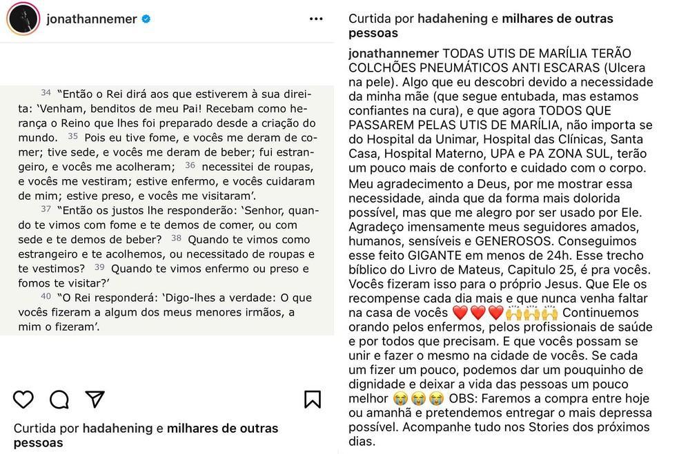 Com a mãe na UTI com Covid, humorista mobiliza seguidores e compra colchões pneumáticos para todos os hospitais de Marília